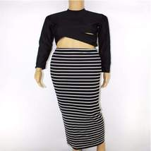 Sexy Long Sleeve Striped Pencil Dress, Two Piece Set - $31.58