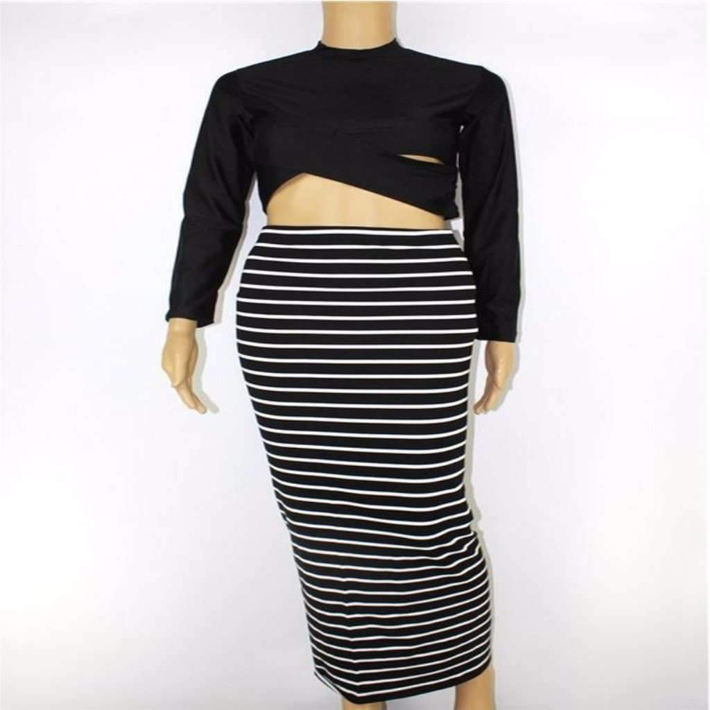 Sy dress for less pencil dress sexy long sleeve striped pencil dress two piece set 1409565130783