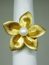 Blossoming Pearl Flower 18k Yellow Gold Ring Size 7.25 - $750.00