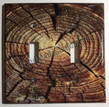 Circle Wood Photo image Light Switch Outlet wall Cover Plate Home decor image 4