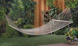 Double Person Cotton Hammock on Wood Frame Metal Loops for Hanging - $44.95