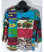 Serengeti Womens Large Multicolor Floral Tropical Shirt Cotton Q - $19.95