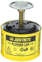 Justrite, 10018, Plunger Can, 1 Pt, Steel, Yellow