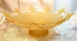 VINTAGE LACE EDGE 9 POINT MATTE LIGHT YELLOW GLASS PEDESTAL CENTERPIECE BOWL