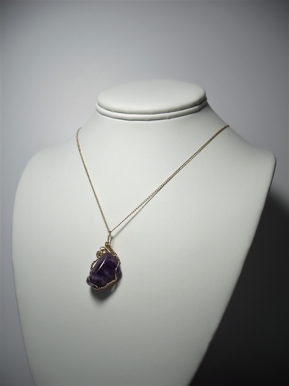 Amethyst Pendant Wire Wrapped 14/20 Gold Filled Handcrafted by Jemel