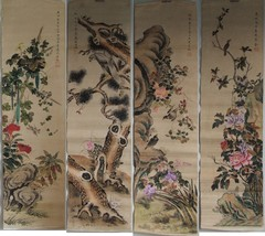 Set of 4 Signed Scroll Paintings by Qing Dynasty Painter Zhu Cheng (1826... - $3,400.00