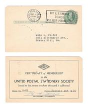 UX26 S36 Postal Stationery Card 1949 1c Green Lincoln UPSS Membership Cert - $4.99