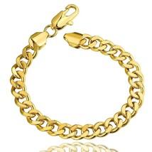 Men's Plated 10K Yellow Gold Cuban Bracelet Franco - $14.69