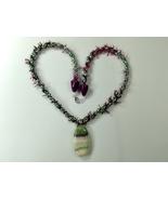 Necklace 22 Inch Handmade Kumihimo Braid Polymer Clay Pendant Purple Gre... - $34.99