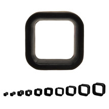 "PAIR-Square Flexi Black Double Flare Silicone Ear Tunnels 25mm/1"" Gauge ... - $7.49"