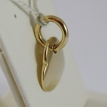 18K YELLOW GOLD HEART ENGRAVABLE CHARM PENDANT 11 MM FLAT SMOOTH MADE IN ITALY image 2
