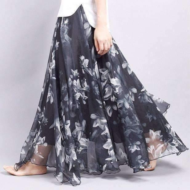 Bohemian Floral Chiffon Pleated Women Maxi Skirt
