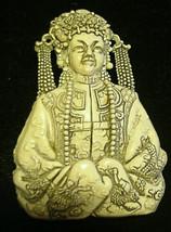 Asian Goddess Princess Brooch Pin Awesome Detailing Vintage - $24.70