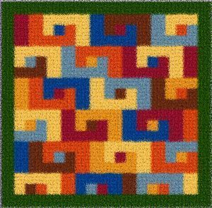 Latch Hook Rug Pattern Chart: Abstract1 Pillowtop - EMAIL2u