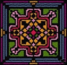 Latch Hook Rug Pattern Chart: Mosiac Tile 4 - EMAIL2u - $5.50