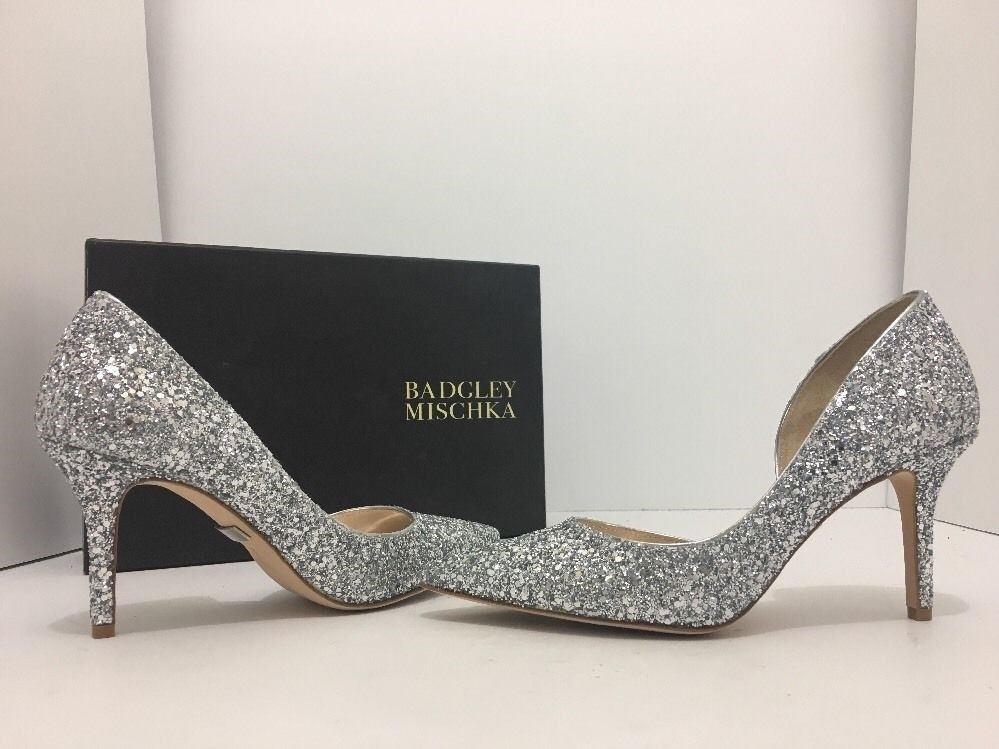 Primary image for Badgley Mischka Daisy Silver Chunky Glitter Women's Evening High Heels Pumps 6 M