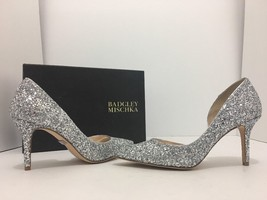 Badgley Mischka Daisy Silver Chunky Glitter Women's Evening High Heels P... - $94.05