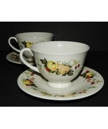 2 Royal Doulton Miramont Cups Saucers China TC1022 Fruit Pattern England - $33.66