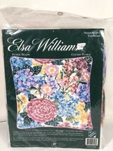 Elsa Williams Vintage Nan Bombard Floral Pillow Needlepoint Tapestry Made In USA - $59.39