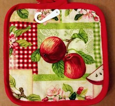 "2 PRINTED Kitchen Pot Holders, 2 RED APPLES 7"" x 7"", red back by AM - $7.91"