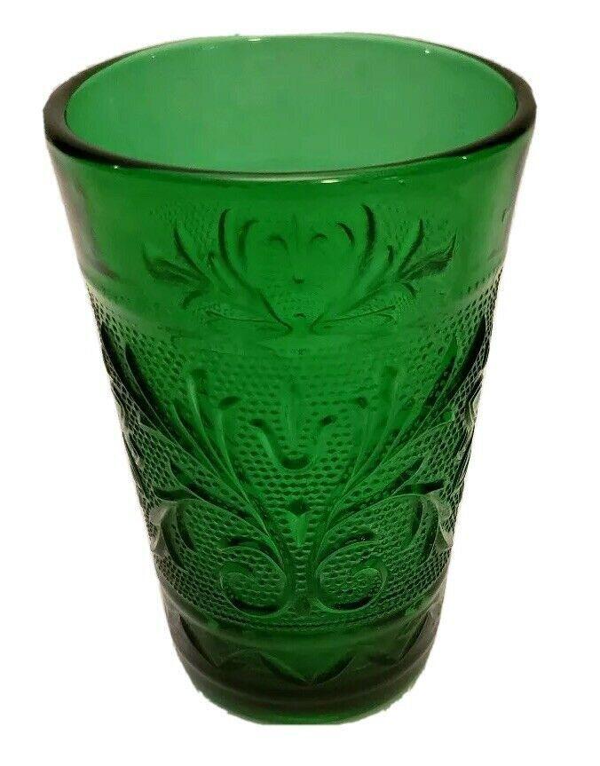 ANCHOR HOCKING FOREST GREEN SANDWICH GLASS JUICE GLASSE - $5.00