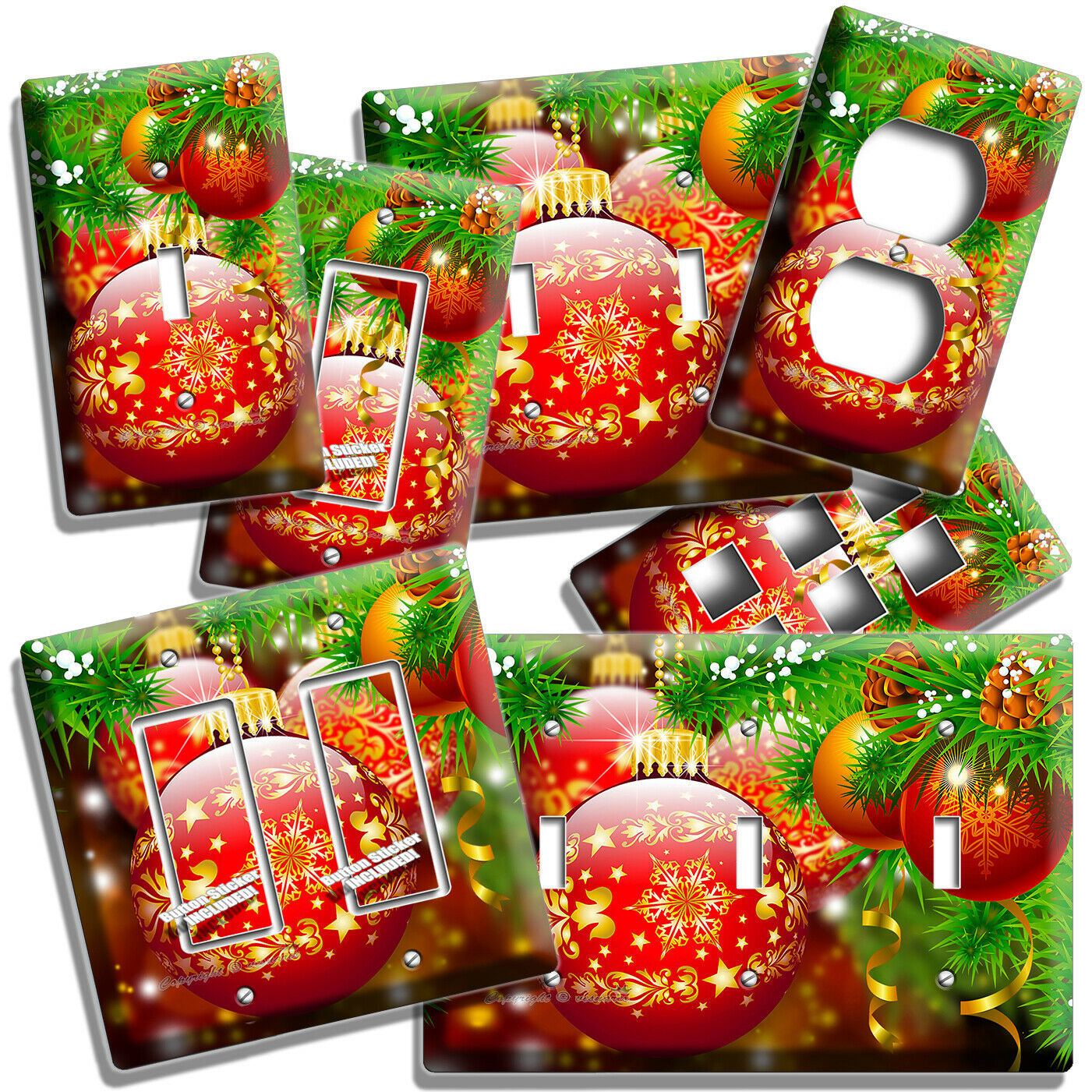 RED CHRISTMAS TREE BALLS LIGHT SWITCH OUTLET WALL PLATE HOME ROOM NEW YEAR DECOR