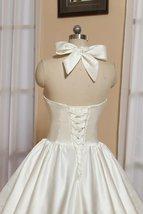 1905's Vintage White Halter Satin Tea Length Wedding Dress With Bow image 3