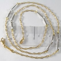 Chain Choker Yellow and White Gold 750 18K, Jersey Navy and Tubes, 45 CM - $367.56