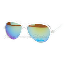 Plastic Aviator Sunglasses Clear Frame Multicolor Mirror Lens - $9.95