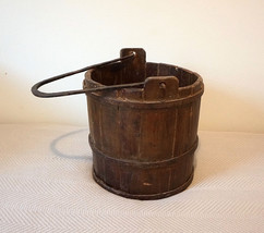 Antique Wooden Bucket Forged Cast Iron V handle Metal Bands Very Old - $350.00