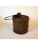 Antique Wooden Bucket Forged Cast Iron V handle Metal Bands Very Old - £266.51 GBP