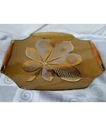 Georges Briard Chestnut Leaf Pebbled Gold Serving Tray Teakwood Handles - $52.20