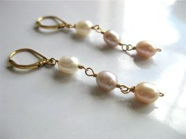 Pink, gray and white linear pearl gold dangle earrings - $20.00