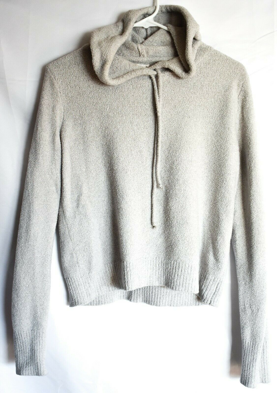 Garage Clothing Soft Fuzzy Gray Grey Hooded Knit Sweater Pullover Hoodie Size M