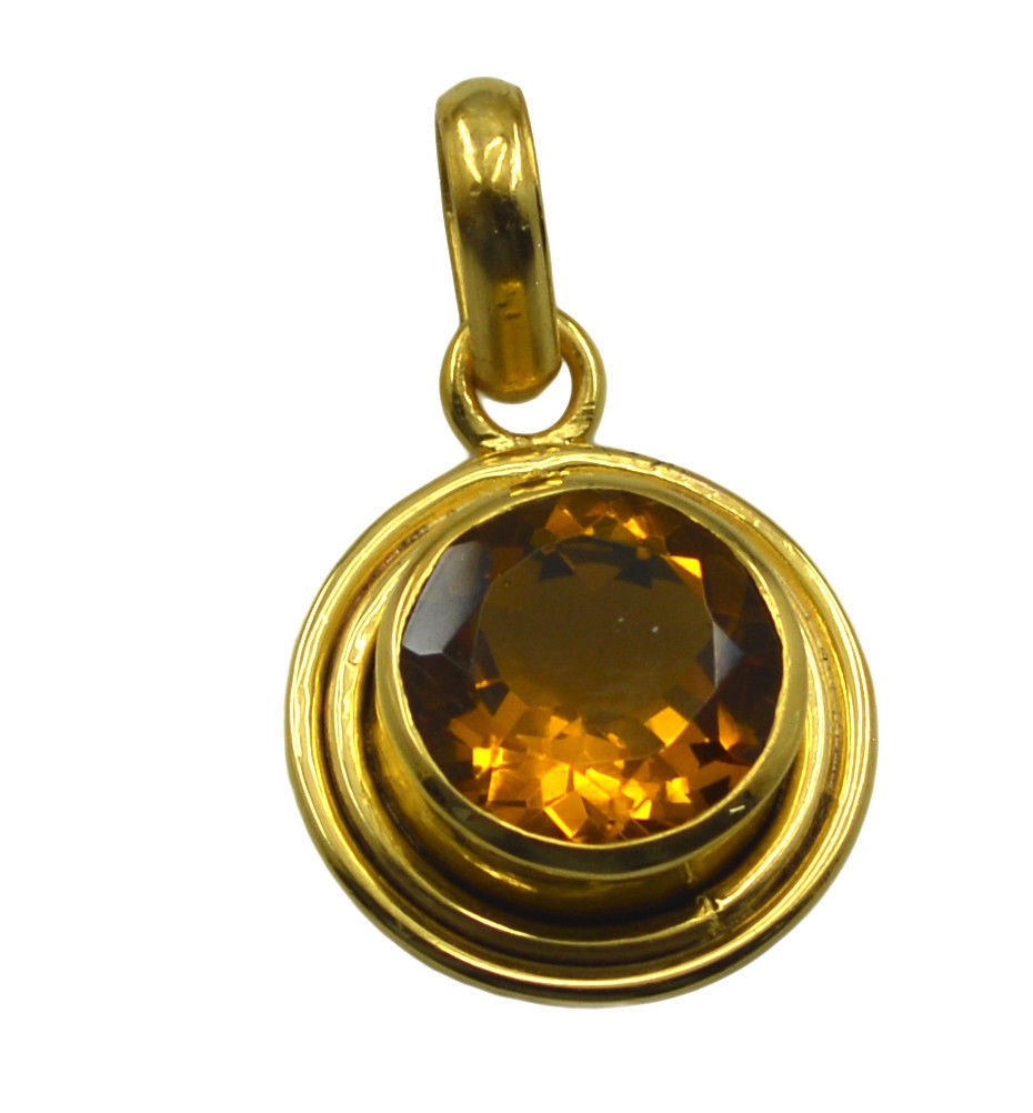 Primary image for bonnie Citrine CZ Gold Plated Yellow Pendant Fashion jaipur US