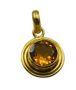 bonnie Citrine CZ Gold Plated Yellow Pendant Fashion jaipur US - $5.63