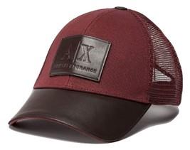 Armani Exchange AIX Men  39 s Logo Patch Mesh Trucker Hat in Brick Red 1f7e52e2c898