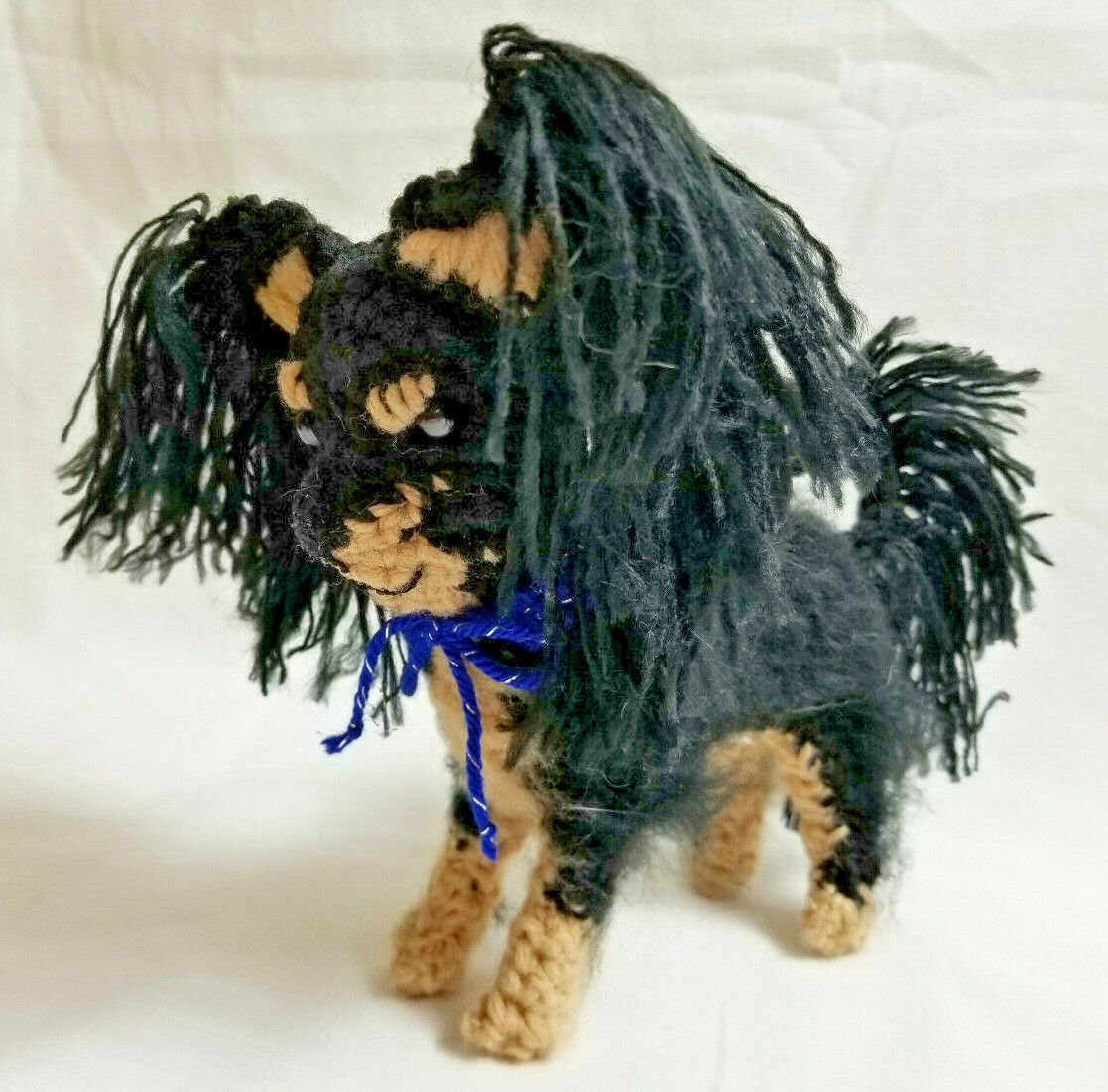 Primary image for Amigurumi  Papillon Black/Tan Breed Puppy Dog Crochet Handmade Figurines Bren