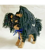 Amigurumi  Papillon Black/Tan Breed Puppy Dog Crochet Handmade Figurines... - $39.95