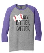 Mens New District Made Gray Purple Raglan 3/4 Sleeve Baseball T Shirt XS - $12.95