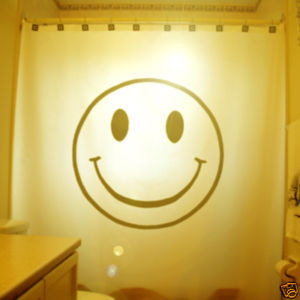 SHOWER CURTAIN humor funny Smiley face happy not yellow