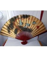 """Vintage Oriental Asian 35x54"""" Paper Wall Fan Wall Art Whooping Crane Bir... - $34.64"""