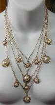 """Ann Taylor 4 Strand Gold Plated Chain Necklace W/Faux Pearls 12 3/4"""" - $44.55"""