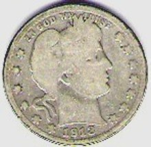 Nice better date 1913D Barber Quarter - $9.95