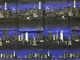 "US Big City Skylines at Night Fabric Quilting Sewing Crafts 36 x 45"" - $14.50"