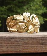 Vintage Trifari Kunio Matsumoto Leaf Clamper Bracelet, Gold - $225.00