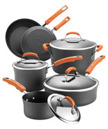 New Rachael Ray Hard Anodized 10 Piece Cookware Set Orange - $185.12