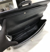 AUTHENTIC CHANEL REISSUE 227 BLACK PATENT LEATHER JUMBO CLASSIC FLAP BAG SHW image 7