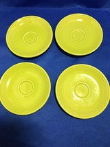 Fiesta Ware Chartreuse Tea Cup Plates Lime Green Lot Of 4 - $7.69
