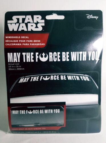 "Star Wars Windshield Decals ""May the Force Be With You"" 3.5"" x 35"" All white."